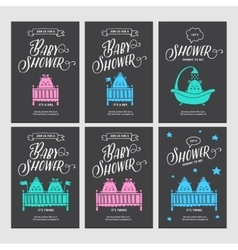 Baby shower invitations doodle collection vector image vector image