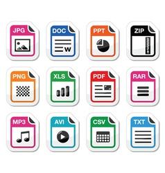 File type icons as labels set - zip pdf jpg doc vector
