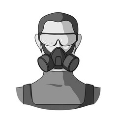 A man in a raspirator and glasses single icon in vector