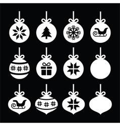 Christmas ball christmas bauble white icons vector