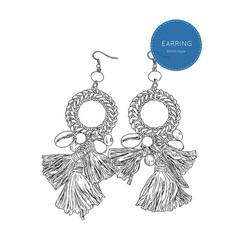 Drop earring bohemian fashion style sketch vector