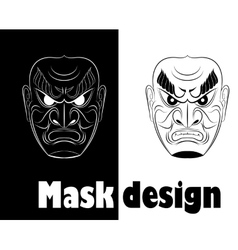 fear monochrome samurai mask vector image
