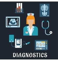 Medical diagnostic procedures flat icons vector image vector image