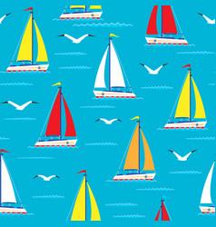 ship sailing boat sea seamless pattern vessel vector image vector image