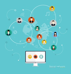 Social Network Concept Flat Design vector image vector image