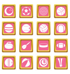 sport balls icons pink vector image