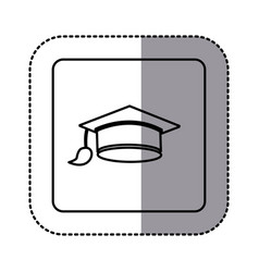 white emblem graduation hat icon vector image