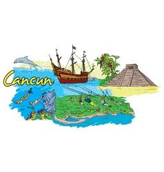 cancun doodles vector image
