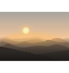 Cartoon mountain landscape in sunrise Background vector image