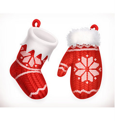Christmas sock and winter knitted mitten 3d icon vector image vector image