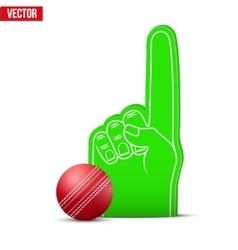 Cricket sports fan foam fingers and ball vector