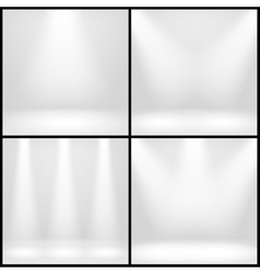 Empty white interior photo studio room with lamps vector image vector image