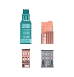 flat buildings architecture icon set vector image vector image