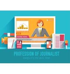 global news information equipment for journalist vector image