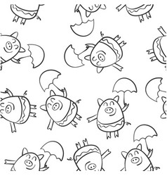 hand draw pig of doodle style vector image vector image