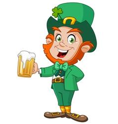 leprechaun with beer vector image