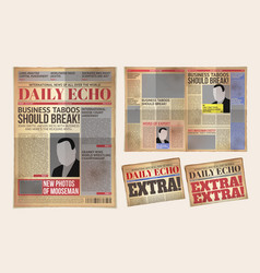 old daily newspaper template tabloid vector image