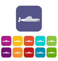 Submarine icons set vector