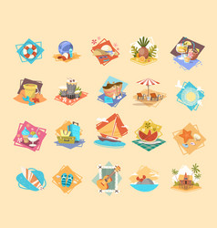 summer vacation icon set seaside holiday vector image vector image
