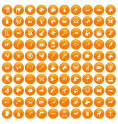 100 animals icons set orange vector