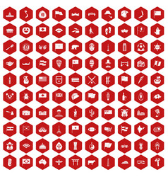 100 national flag icons hexagon red vector image