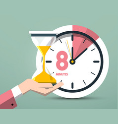 8 eight minutes clock symbol time icon with vector image