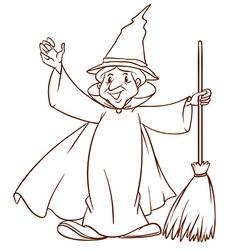 A simple sketch of a wizard vector image