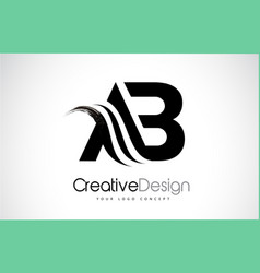 Ab a b creative brush black letters design with vector