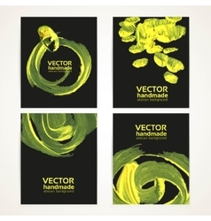 Abstract black and yellow brush texture vector image