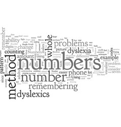 Adult dyslexia on numbers and codes vector