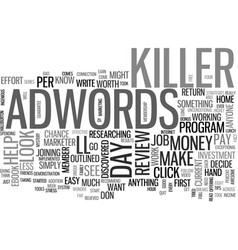 adwords killer review good or bad text word cloud vector image