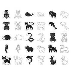 an unrealistic animal blackoutline icons in set vector image