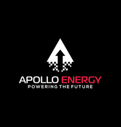 Apollo energy launch arrow with mosaic smoke vector
