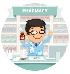 Apothecary behind the counter at pharmacy round vector