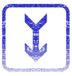 Arrow down framed textured icon vector