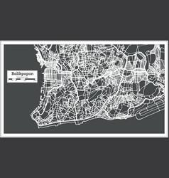 Balikpapan indonesia city map in retro style vector