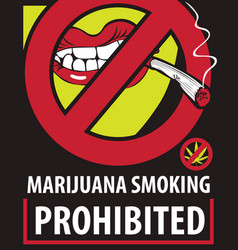 Banner for banning the smoking of marijuana vector
