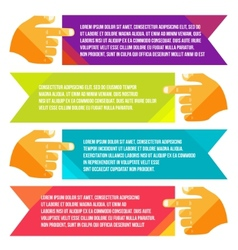 banners for information pointing hand vector image