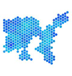 Blue hexagon limnos greek island map vector