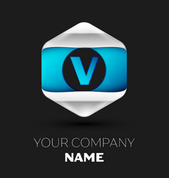 blue letter v logo in the silver-blue hexagonal vector image