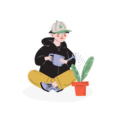 Boy watering houseplant hobby education vector