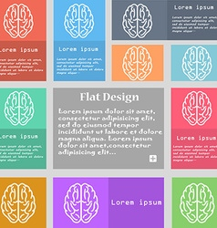 Brain icon sign Set of multicolored buttons with vector image