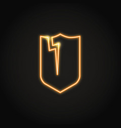 Broken shield neon icon in line style vector