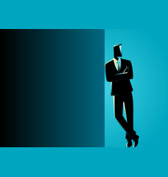Businessman leaning at dark blank space vector