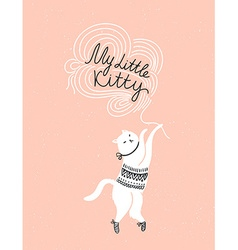 card with cute white cat and stylish lettering my vector image