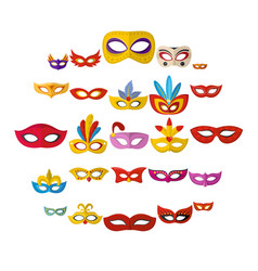 carnival mask venetian icons set flat style vector image