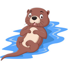 Cartoon funny otter floating on water vector