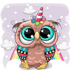 cartoon owl with horn a unicorn on clouds vector image