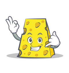 Cheese character cartoon style with call me vector