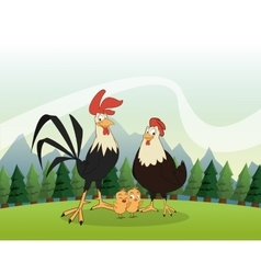Chicken and rooster icon Landscape background vector